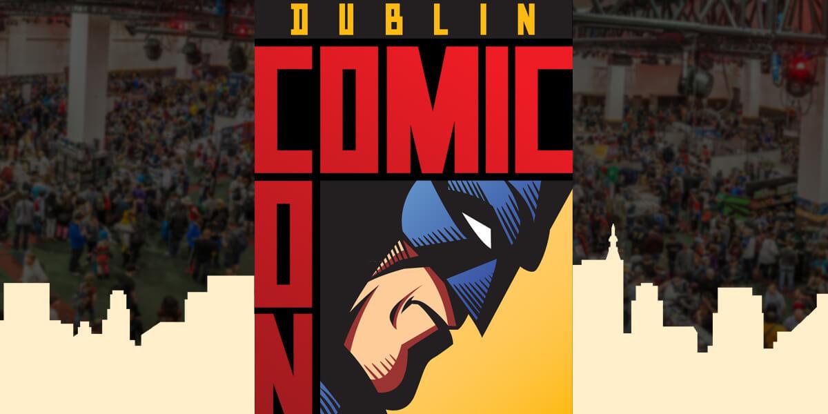 Dublin Comic Con Logo, Image Batman looking pensive