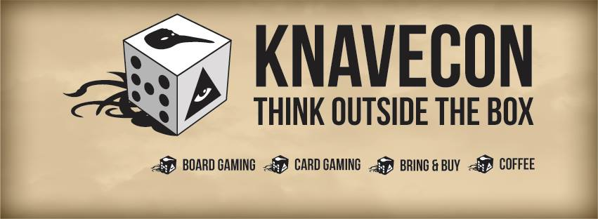 """Picture of Dice with the tagline """"Knavecon: Think Outside The Box"""