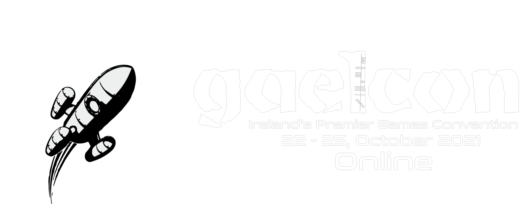 Image of Gaelcon logo with a rocketship on it. Reads Irelands Premier Gaming Convention 22-25th October