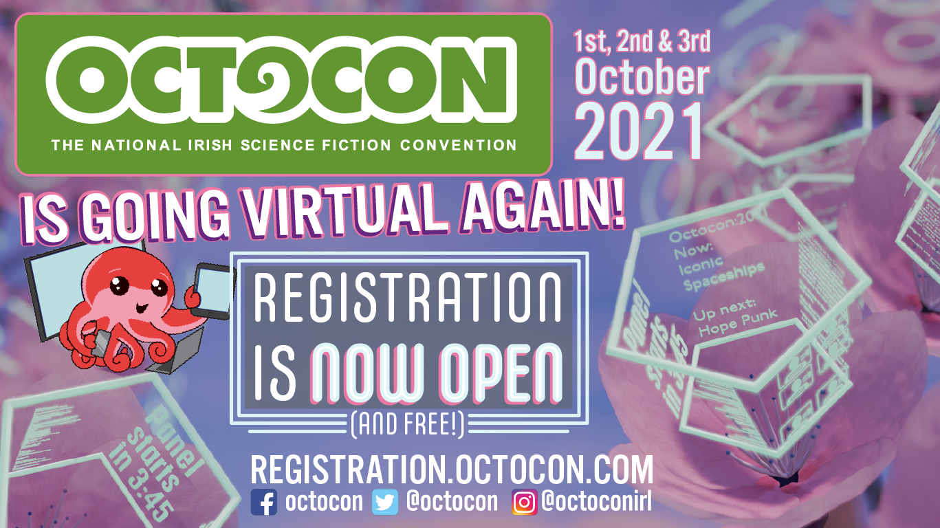 Octocon 2021 logo with banner readinf Registration Is Now Open!